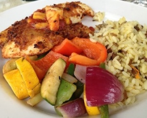 tilapia with mango and tomato salsa.